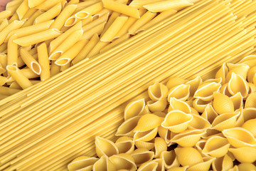 Variety of types and shapes of Italian pasta.