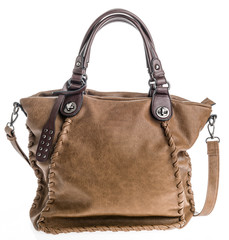 Elegant brown suede woman handbag