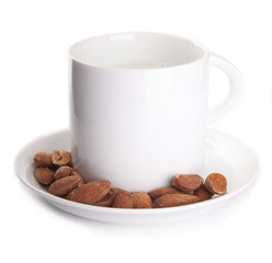 a cup of milk with almonds