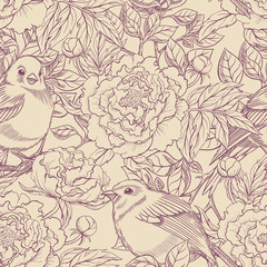 purple and beige birds and peonies