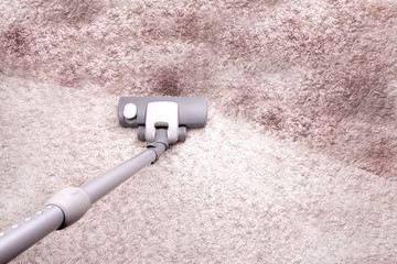vacuuming very dirty floor