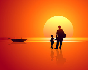 Father & Daughter in Sea Beach at Sunset-vector