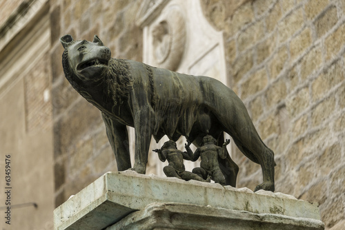 Sculpture of a mother-wolf feeding Romulus and Remus, Rome, Ital