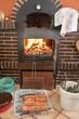 Parrillada de carne con fuego de horno de leña