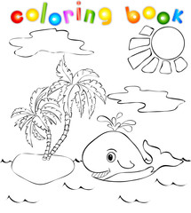 Whale near the island with palms. Coloring book