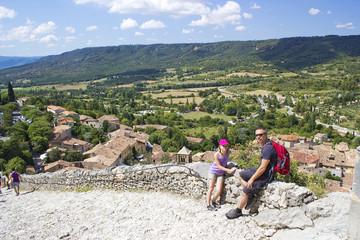 Tourists in Moustiers-Ste-Marie, Alpes de Haute Provence