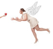 Beautiful plus size woman flying for apple