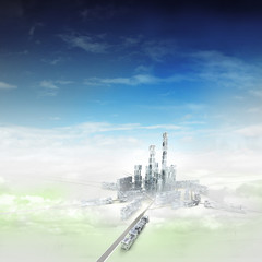 bird view focused to modern city of future in mist