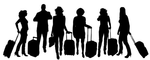 Vector silhouette of a business people.