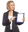 beautiful business woman points a pen on a blank document