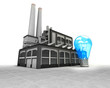 blue lightbulb as industrial factory production concept