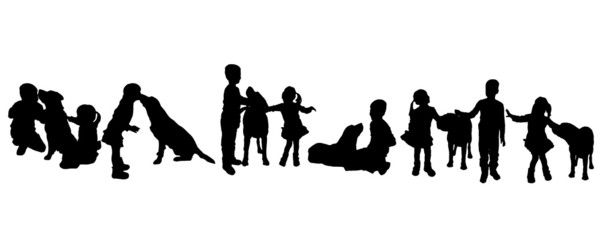 Vector silhouette of children with a dog.
