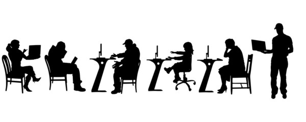 Vector silhouette of a people with a computer.