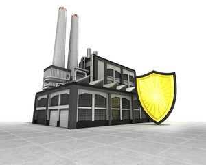 security shield as industrial factory production concept