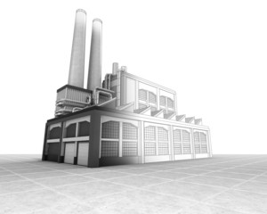 isolated factory building half wire sketch