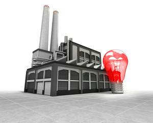 red lightbulb as industrial factory production concept