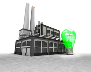green lightbulb as industrial factory production concept