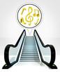 music sound in bubble above escalator leading to upwards