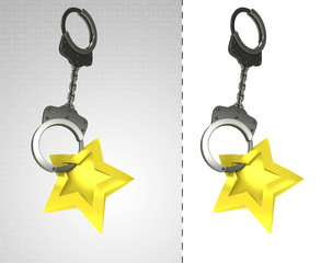 golden star in chain as criminality concept double
