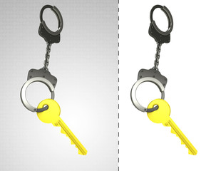 golden key in chain as criminality concept double