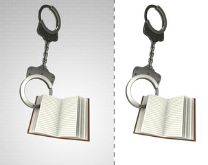 open book in chain as criminality concept double