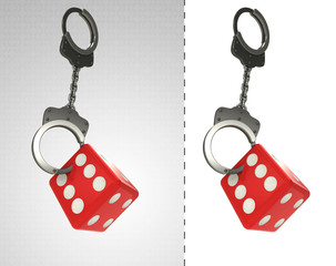 lucky dice in chain as criminality concept double