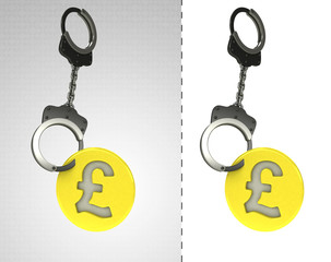 golden Pound coin in chain as criminality concept double
