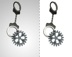 industrial cogwheel in chain as criminality concept double