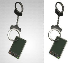 new smart phone in chain as criminality concept double
