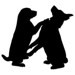 Vector silhouettes of dogs.