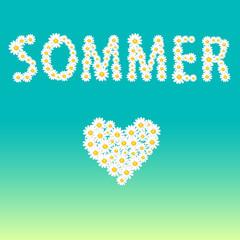 Sommer und Herz aus Sommerblumen