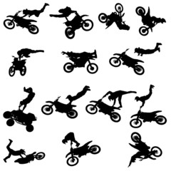Vector silhouette of a man with a motorcycle.