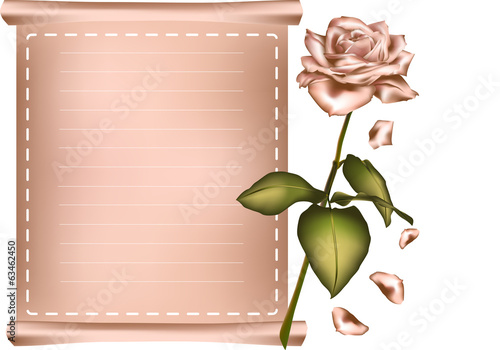 Greeting card with pink rose.