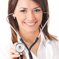 Cheerful doctor examing with stethoscope, over white