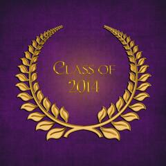 gold laurel on purple for 2014 graduation