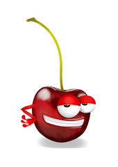 Cool red cherry cartoon character, smiling