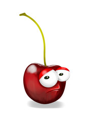 Sad red cherry cartoon, a depressed, disappointed character.