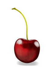 Simple, realistic red cherry illustration, front view.