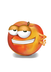 Cool, funny and confident peach cartoon character