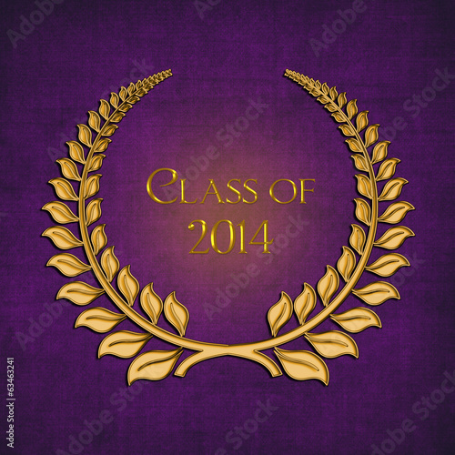 gold laurel on purple for 2014 graduation