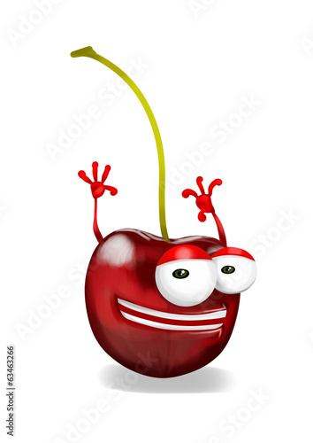 Happy cherry cartoon character, smiling and waving hands.