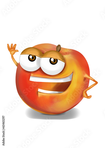 Happy peach cartoon character, smiling and waving hands.