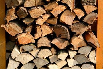 Holzstapel mit verschiedenen Holzarten