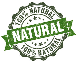 Natural green grungy retro style isolated seal