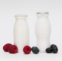 bottle of yogurt and berries