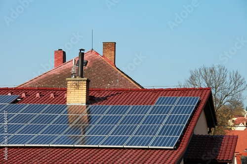 solar panels and chimneys