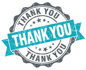 Thank you turquoise grunge retro style isolated seal