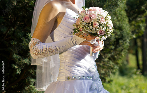 Pink and white rose bridal bouquet
