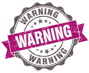 Warning violet grunge retro style isolated seal