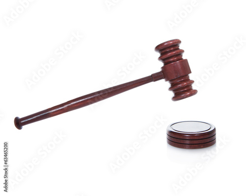 Wooden gavel or mallet as used by a judge in a courtroom
